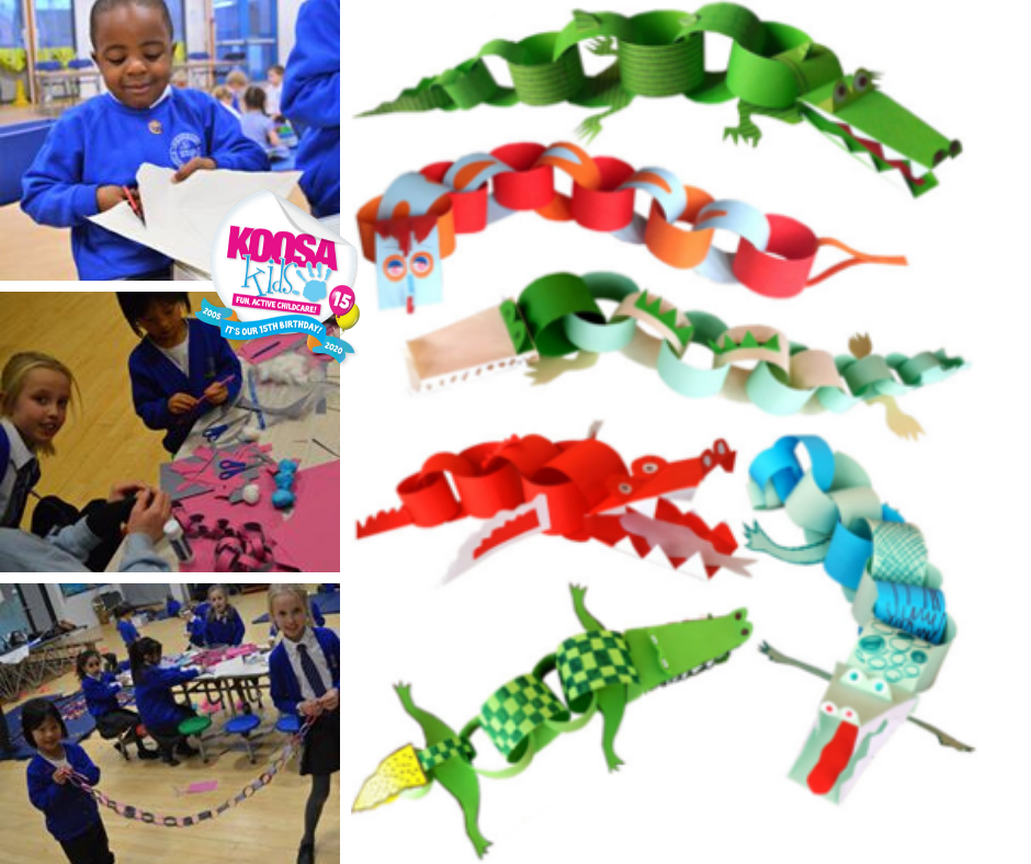 KOOSA Kids favourite activities to try at home - Paper Chain Animals. Fun for all ages!